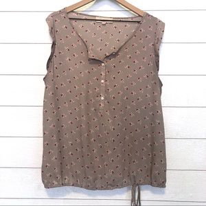 LOFT Taupe Floral Sleeveless Blouse Size XL